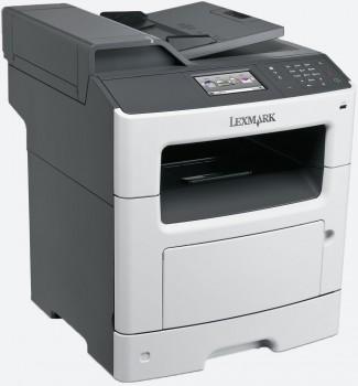 Večnamenska naprava Lexmark MX410de s hitrostjo tiskanja do 38 strani na minuto omogoča tiskanje, kopiranje, faksiranje, optično branje in pošiljanje e-pošte. Naprava je opremljena z vhodno zmogljivostjo 300 listov in obojestranskim tiskanjem.